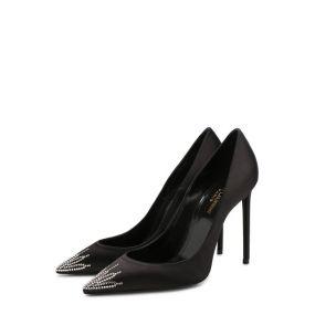 Атласные туфли Zoe с отделкой кристаллами на шпильке Saint Laurent