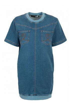 Джинсовое платье-футболка