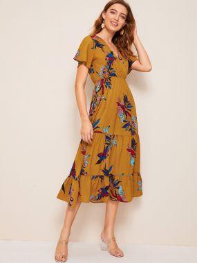 Платье с оборкой, глубоким V-образным вырезом и цветочным принтом
