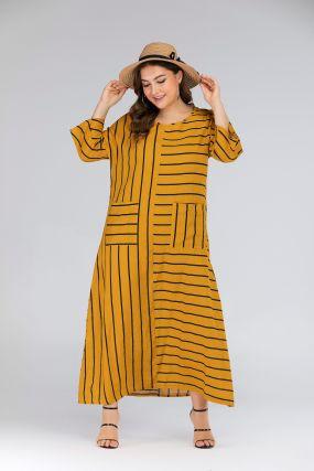 Полосатое длинное платье размера плюс