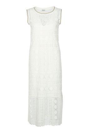 Платье без рукавов из белой кружевной ткани