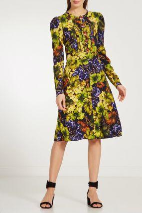 Платье с принтом с виноградом
