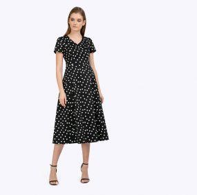 Платье а-силуэта в горох