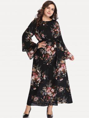 Размера плюс платье с цветочным принтом и поясом