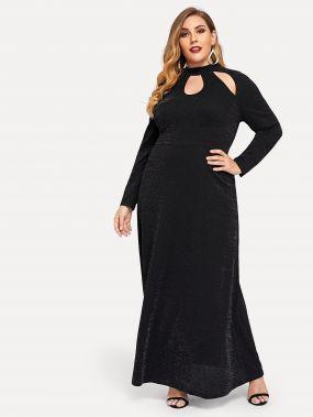 Платье с разрезами и стоячим вырезом размера плюс