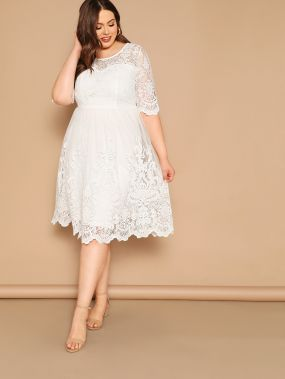 Размер плюс сетчатое платье с фестончатым краем
