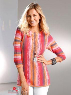 Пуловер Paola Klingel, цвет розовый, оранжевый, полоска