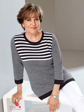 Пуловер Paola Klingel, цвет черный, белый, полоска