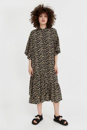 платье-миди с асимметричными воланами