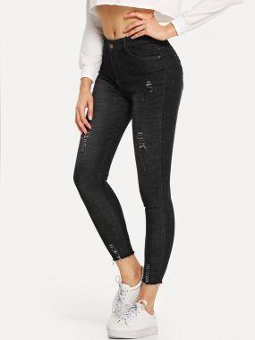 Рваные обтягивающие джинсы с необработанным краем