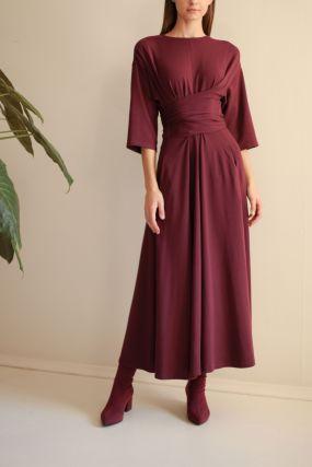 Платье ЧЕРЕШНЯ бордовое с длинными поясами (40-46)