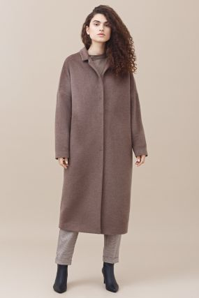 Пальто Черешня шерстяное объемный кокон цвета какао (42-46)