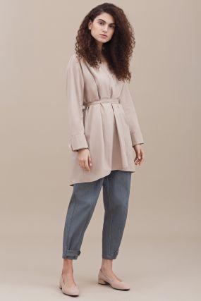 Блузка-кимоно Черешня из  хлопка с высоким манжетом бежевого цвета (40-46)