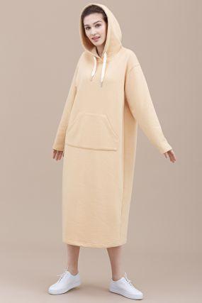 Платье-худи Черешня трикотажное с капюшоном лимонный (40-46)