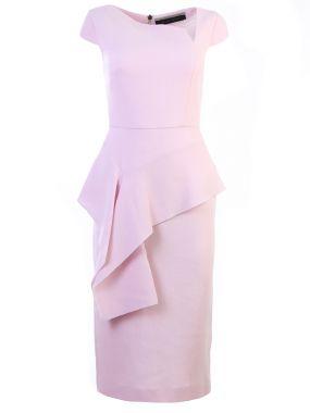 Шерстяное платье-миди с оборкой