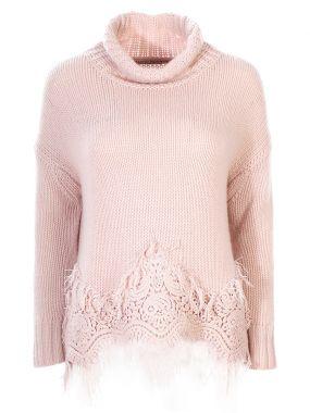 Кашемировый свитер с кружевом
