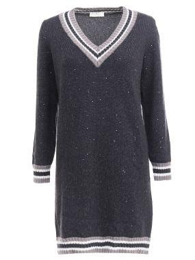 Удлиненный пуловер с пайетками