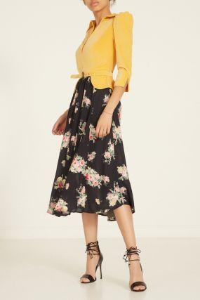 Комбинированное платье с цветочным принтом