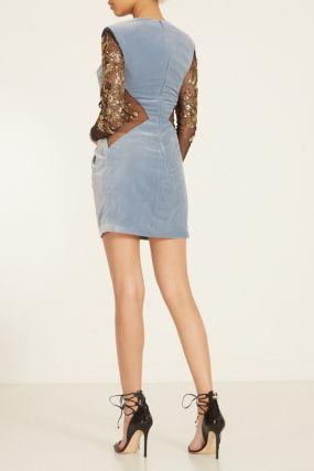 Комбинированное платье с вышивкой на рукавах