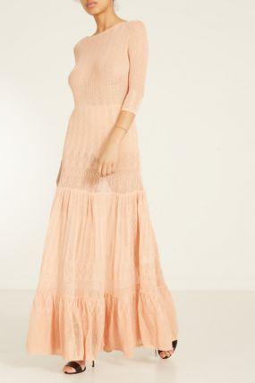 Ажурное розовое платье