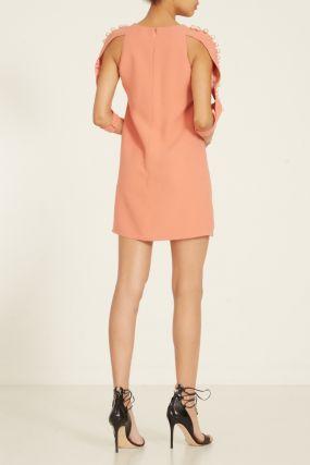 Розовое платье с бусинами