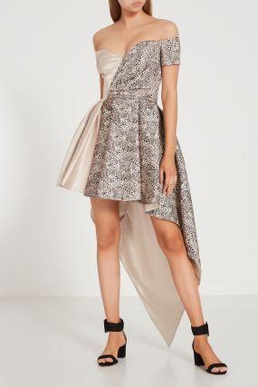 Комбинированное платье с принтом