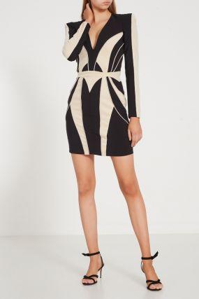 Контрастное мини-платье