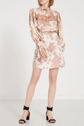 Мини-платье с растительным принтом