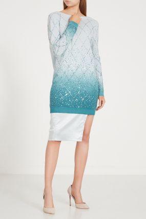 Шерстяное платье с градиентом