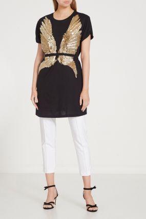 Черное хлопковое платье с золотистыми пайетками