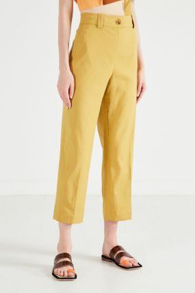 Зеленые льняные брюки