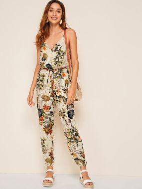 Комбинезон с тропическим принтом и брюки с поясом