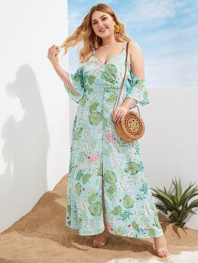 Платье размера плюс с открытыми плечами и графическим принтом