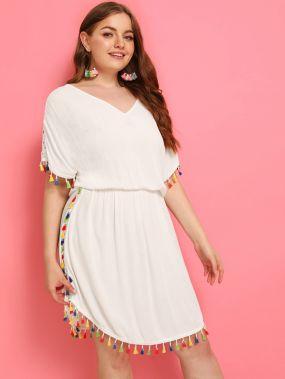 Платье размера плюс с кружевной вставкой и бахромой