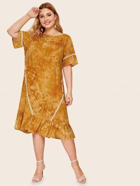 Разноцветное платье размера плюс с оборками