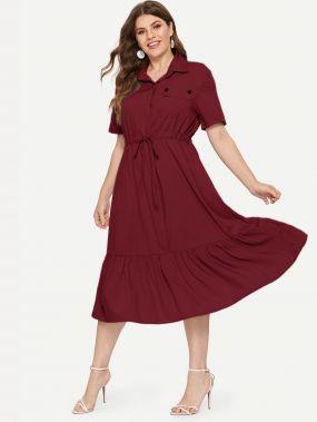 Платье-рубашка на кулиске размера плюс с оборками