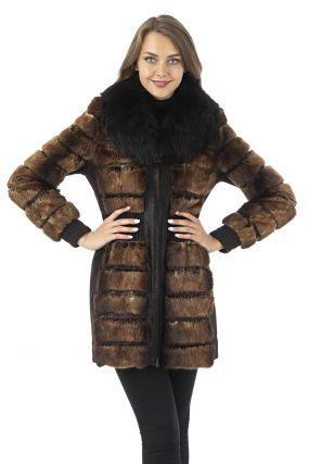 Женское кожаное пальто из натуральной замши с воротником, отделка песец