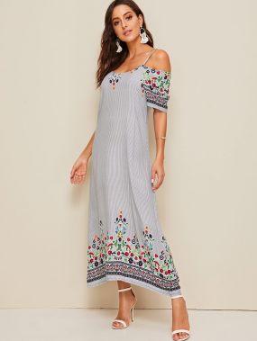 Полосатое платье с открытым плечом и цветочным принтом