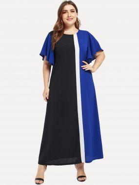 Контрастное длинное платье с оригинальным рукавом размера плюс