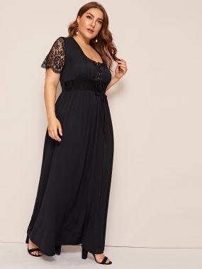 Платье с контрастным кружевом и кулиской размера плюс