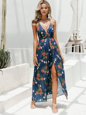 Simplee платье на бретелях с цветочным принтом и разрезом