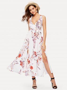 Платье из шифона с поясом и цветочным принтом