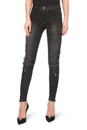 Серые джинсы «скинни» с декором