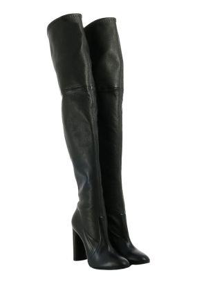 Черные сапоги-чулки на каблуке