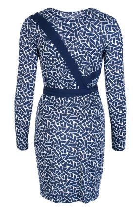 Платье с узором и контрастной отделкой