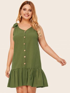 Платье размера плюс с пуговицами и оборками