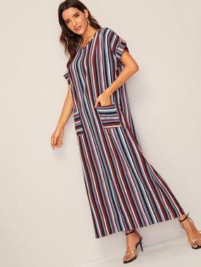 Длинное платье в полоску с карманом