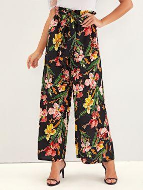 Широкие брюки с цветочным принтом и присборенной талией