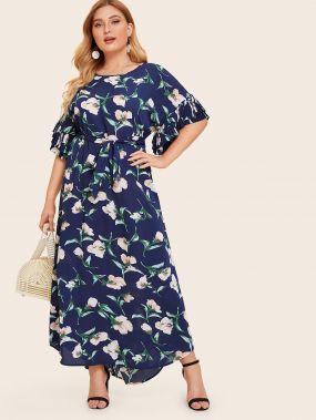 Многослойное платье с цветочным принтом размера плюс