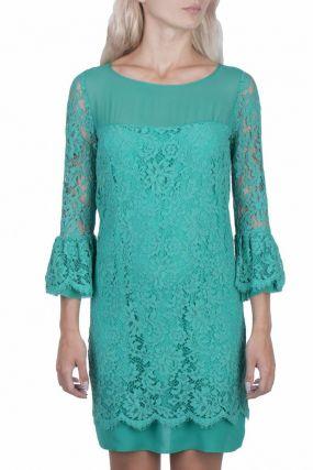 Бирюзовое платье с кружевом